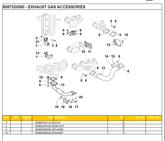 EXHAUST GAS ACCESORIES